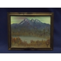 Framed Canvas Painting of Mountain Range 23 in. x 19 in.