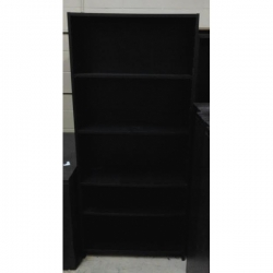 6 ft Black 5 Shelf Book Case w Adjustable Shelves