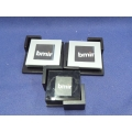 Set of 4 Glass Photo Holder Coasters w Wood Caddy