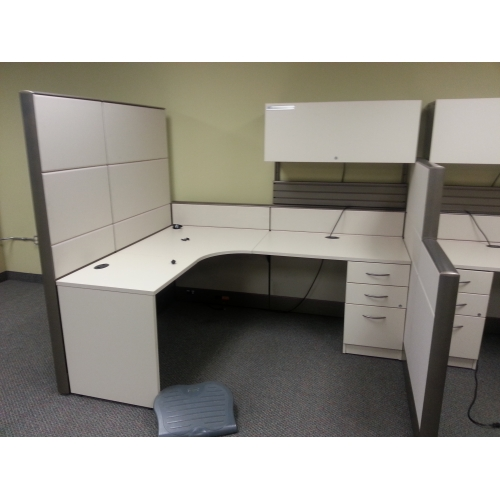 Tayco Beige 4 Pod Office Systems Furniture, Desks, Cubicles