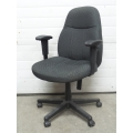 Grey Pattern Mid Back Rolling Adjustable Task Chair w Arms