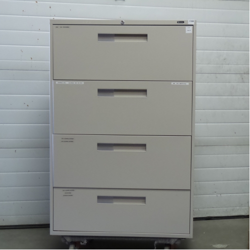Bon Global Grey 4 Drawer Lateral File Cabinet, Locking