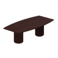 96 in. Espresso Boat Shaped Tapered Board Room Meeting Table