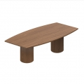 96 in. Winter Cherry Boat Shaped Tapered Board Room Table