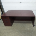 Mahogany Executive Bow Front Single Pedestal Desk w Client Space