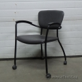 Grey Leather Executive Rolling Guest Side Chair w Arms