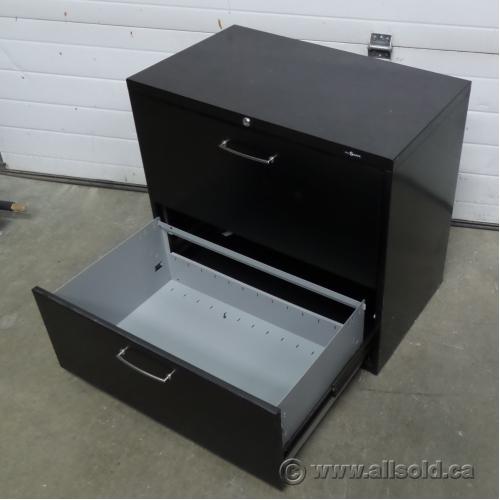 ProSource 30 In. Black 2 Drawer File Cabinet, Locking