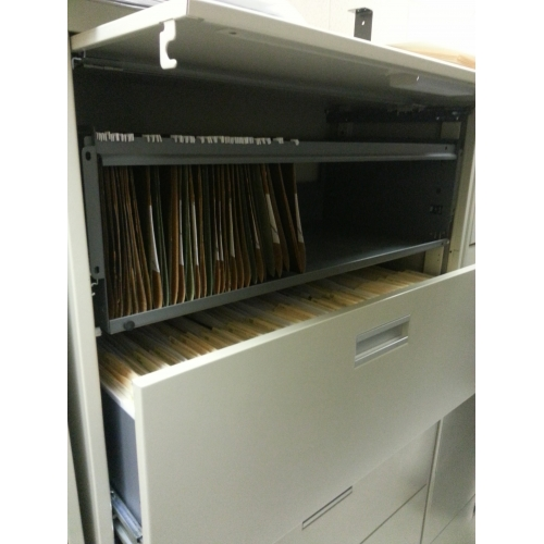 Prosource Grey 5 Drawer Lateral File Cabinet, Locking