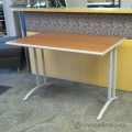 "Teknion Cherry Top Height Adjustable 60"" x 29"" Table, Latte Trim"