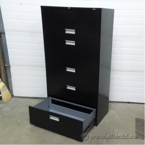 ProSource Black 5 Drawer Lateral File Cabinet, Locking
