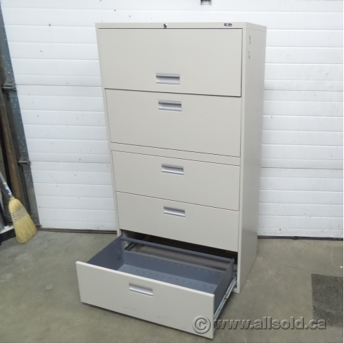 Prosource Beige 5 Drawer Lateral File Cabinet, Locking