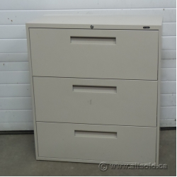 Global Beige 3 Drawer Lateral File Cabinet, Locking