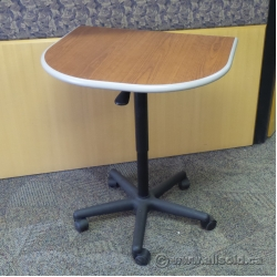 Teknion Cherry Rolling Gas Lift Adjustable Table Desk Extension