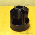 Black Plastic Rotating Desk Caddy Pen and Accessory Holder