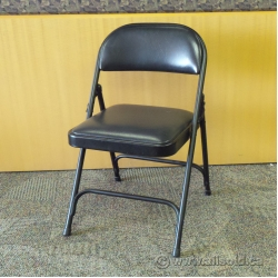 Black Metal Folding Chair with Padded Seat and Back
