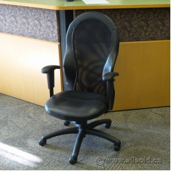 Abitibi Black Leather High Mesh Back Adjustable Task Chair