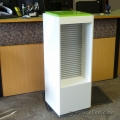 White and Green Retail Display Stand with Recessed Slatwall