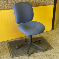 Blue Fabric Adjustable Height Rolling Steno Task Chair
