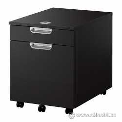 IKEA Galant Espresso 2 Drawer Rolling Pedestal w Combination