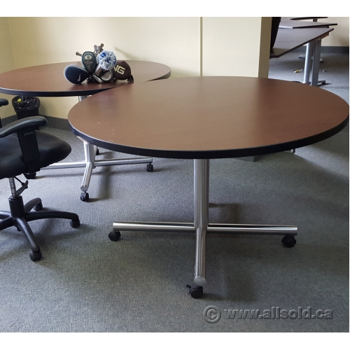 Espresso Round Rolling Conference Meeting Table Chrome Base - Rolling conference table