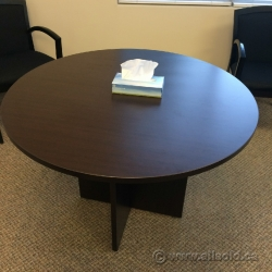 "Espresso 42"" Round Conference Meeting Table with Wood Base"