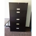 Staples Black 5 Drawer Lateral File Cabinet, Locking