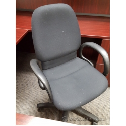 Steelcase Black Mid Back Adjustable Rolling Task Chair w Arms