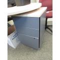 Grey w Blonde Top 3 Drawer Box Box File Pedestal, Locking
