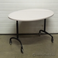 Steelcase White Oval Mobile Rolling Height Adjustable Table