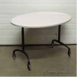 Steelcase Off White Oval Mobile Rolling Height Adjustable Table