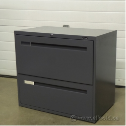 "Boulevard Grey 2 Drawer 36"" Lateral File Cabinet, Locking"