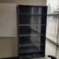 Black 84 x 42 Book Case with 5 Adjustable Glass Shelves
