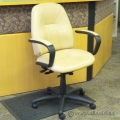 Simo Light Tan Leather Adjustable Office Task Chair with Arms