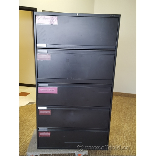 Global Black 5 Drawer Lateral File Cabinet, Locking