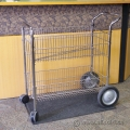 Silver Metal 2-Tier Double Basket Rolling Wire Mail File Cart