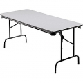 6 ft Folding Banquet Table, Wood w Steel Frame, Grey