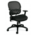 HON Basyx Black Mesh / Cloth Mid Back Rolling Task Chair