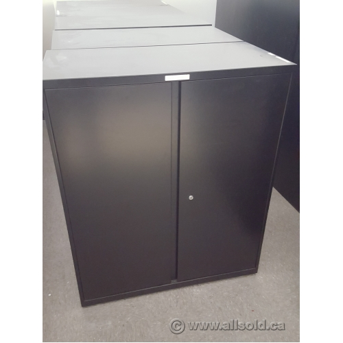 Teknion Black 36x18x42 2 Door Metal Storage Cabinet, Locking