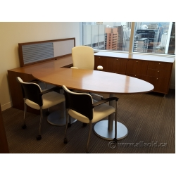 Teknion Solutions Solitaire Series Walnut Oval Table/Desk