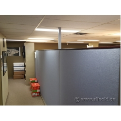 Blue Fabric Panel Office Cubicle Dividers, Dark Wood Trim