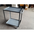 "Grey Steel 24"" x 30"" 2 Level Utility Product Cart"
