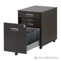 IKEA Galant Espresso 4 Drawer Rolling Pedestal, Locking