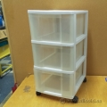 Plastic White 3 Clear Drawer Rolling Storage
