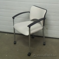 Teknion Amicus Series White Rolling Guest Chair