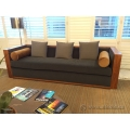 Grey Fabric Low Back Sofa Couch with Walnut Accent Trim