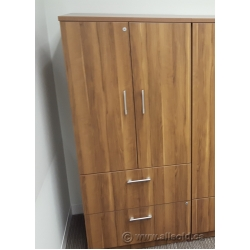 Hon Walnut 2 Drawer Lateral File Cabinet with 2 Door Storage