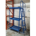 Industrial 5-Step 3-Tier Blue Rolling Product Ladder Cart