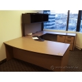 Espresso and Maple U / C Suite Bow Front Desk with Overhead