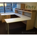 Blonde U / C Suite Desk with Pigeon Hole Overhead and Storage