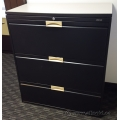 Boulevard Black 3 Drawer Lateral File Cabinet w Laminate Top
